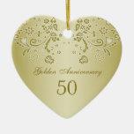 Golden Swirls 50th Wedding Anniversary Ornament at Zazzle