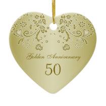 Golden swirls 50th Wedding Anniversary Ornament