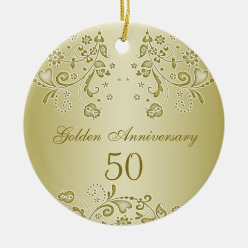 golden swirls 50th wedding anniversary ornament zazzle