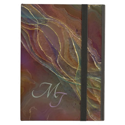 Golden swirls brown background case for iPad a