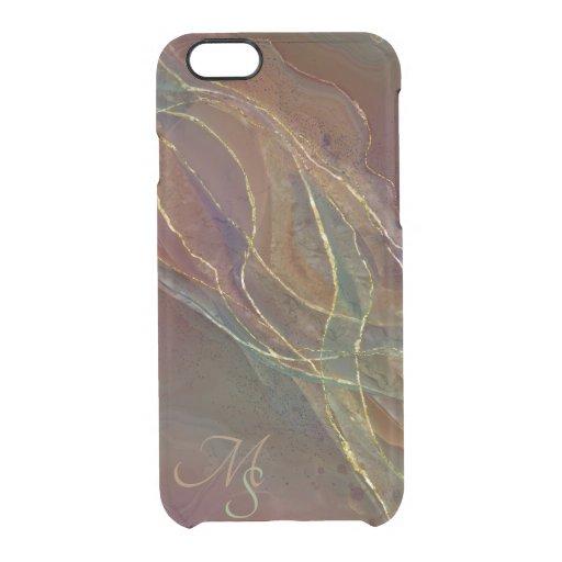Golden swirls brown green background clear iPhone 6/6S case