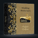"""Golden swirls, damask 50th Wedding Anniversary Binder<br><div class=""""desc"""">Leafy golden swirls,  black and golden damask pattern 50th Wedding Anniversary Binder. You can leave frame how it is or just remove it.</div>"""
