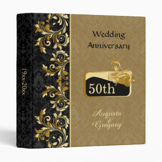Golden swirls, damask 50th Wedding Anniversary Binder