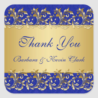 Golden swirls, damask Wedding Thank You Sticker