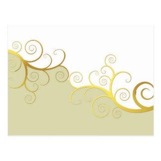 Golden swirls on beige and white postcard