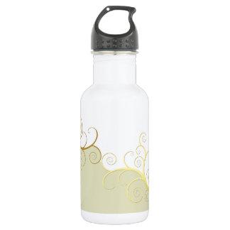 Golden swirls on beige and white water bottle