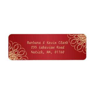 Golden swirls on dark red background label