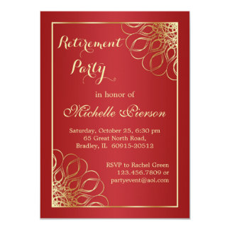 Golden swirls on dark red Retirement Party Card