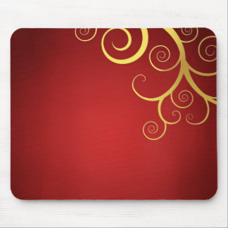 Golden swirls on deep red mouse pad