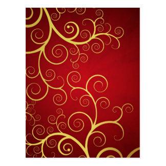 Golden swirls on deep red postcard