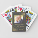 """Golden swirls on gray 50th Wedding Anniversary Bicycle Playing Cards<br><div class=""""desc"""">Golden swirls on slate gray background 50th Wedding Anniversary Photo Playing Cards</div>"""
