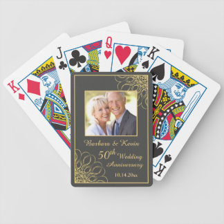 Golden swirls on gray 50th Wedding Anniversary Bicycle Playing Cards