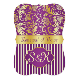 Golden swirls on purple Renewal of Vows Invitation