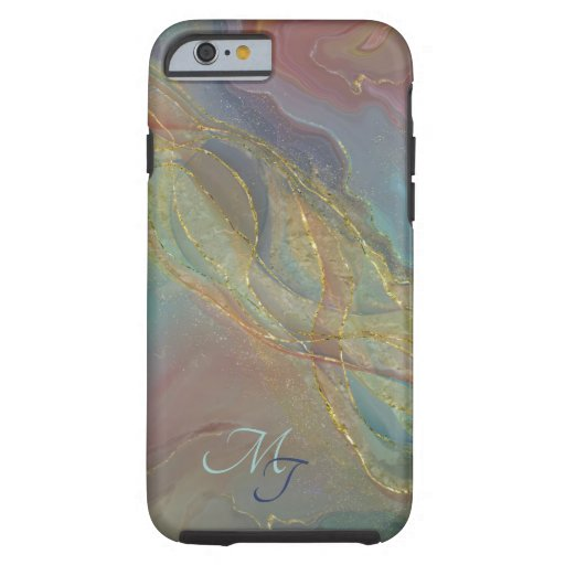 Golden swirls pastel background tough iPhone 6 case