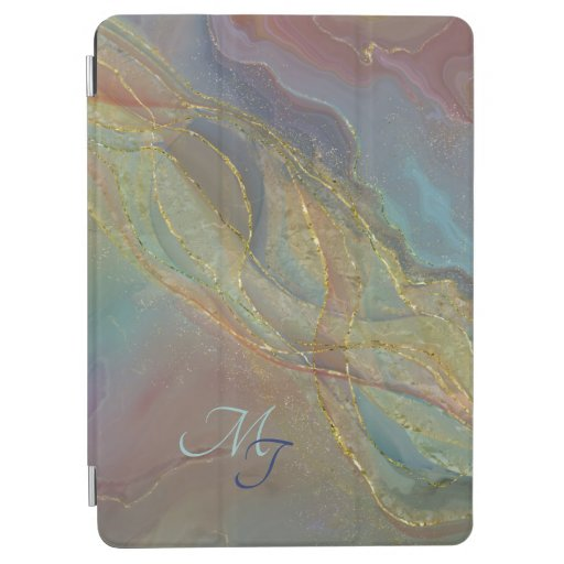 Golden swirls pastel background iPad air cover
