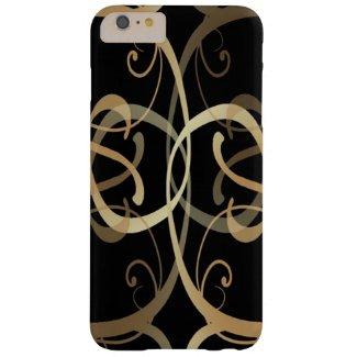 Golden Swirls Pattern On Black