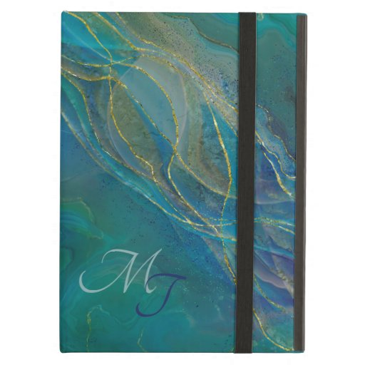 Golden swirls turquoise background case for iPad air