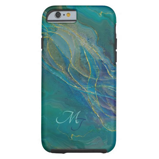 Golden swirls turquoise background tough iPhone 6 case