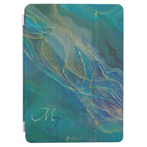 Golden swirls turquoise background iPad air cover
