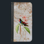 "Golden Tailed Sapphire Hummingbird Wallet Phone Case For Samsung Galaxy S6<br><div class=""desc"">Wallet case with a brightly colored green,  blue and red hummingbird perches on a pink orchid,  on an off-white vintage grunge background with gold swirls and floral silhouettes.</div>"