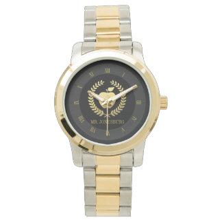 Golden Teacher Apple Faux Gold Custom Name Wristwatch