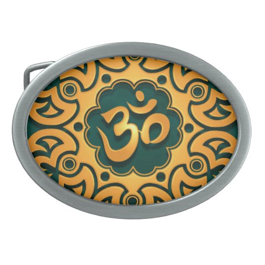 Golden Teal Aum Design Oval Belt Buckle