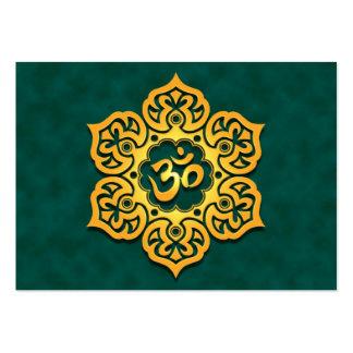 Golden Teal Lotus Flower Om Large Business Cards (Pack Of 100)