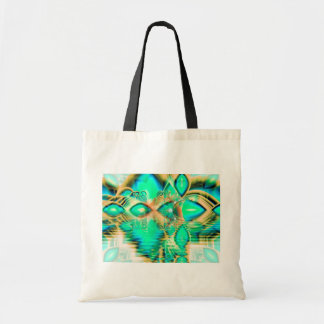 Golden Teal Peacock, Abstract Copper Crystal Tote Bag