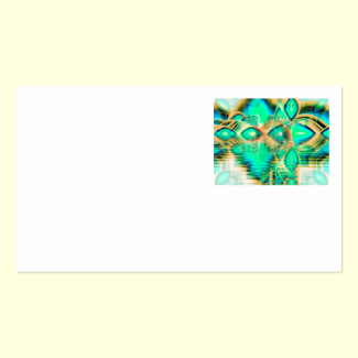 Golden Teal Peacock, Abstract Copper Crystal Double-Sided Standard Business Cards (Pack Of 100)