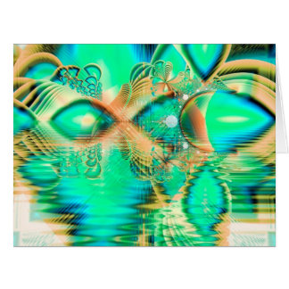 Golden Teal Peacock, Abstract Copper Crystal Card