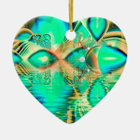 Golden Teal Peacock, Abstract Copper Crystal Ceramic Ornament