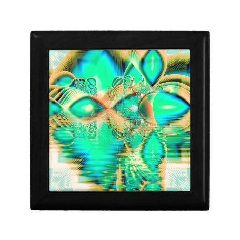 Golden Teal Peacock, Abstract Copper Crystal Gift Box