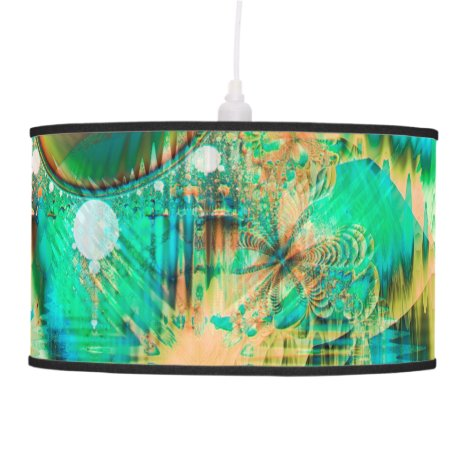 Golden Teal Peacock, Abstract Copper Crystal Hanging Lamp