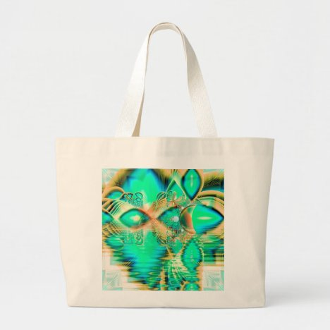 Golden Teal Peacock, Abstract Copper Crystal Large Tote Bag
