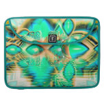 Golden Teal Peacock, Abstract Copper Crystal MacBook Pro Sleeve