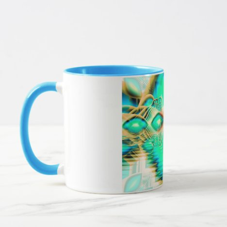 Golden Teal Peacock, Abstract Copper Crystal Mug