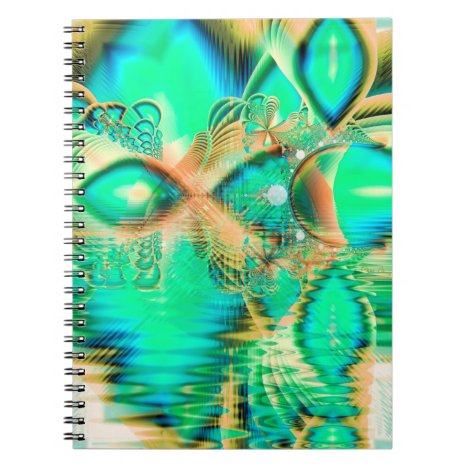 Golden Teal Peacock, Abstract Copper Crystal Notebook