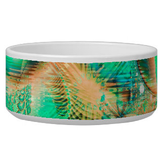 Golden Teal Peacock Abstract Copper Crystal Dog Food Bowls
