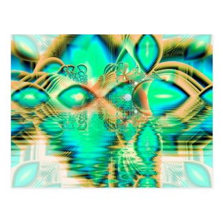 Golden Teal Peacock, Abstract Copper Crystal Postcard