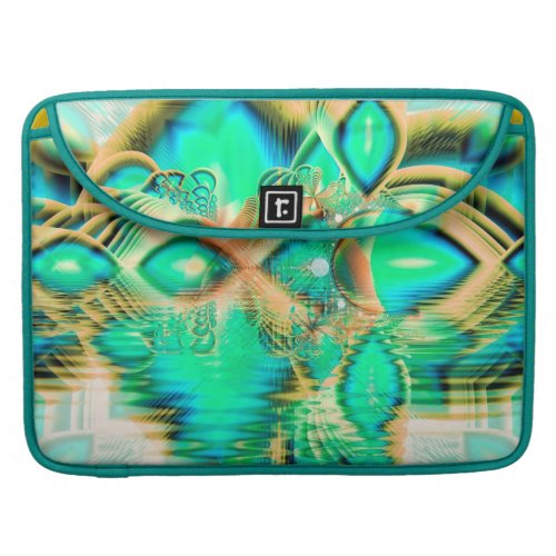 Golden Teal Peacock, Abstract Copper Crystal Sleeve For MacBook Pro