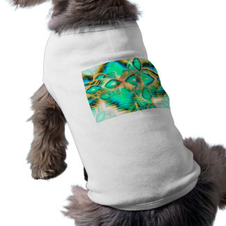 Golden Teal Peacock, Abstract Copper Crystal T-Shirt