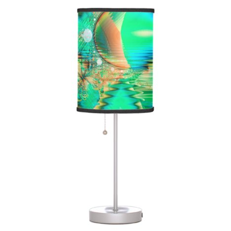 Golden Teal Peacock, Abstract Copper Crystal Table Lamp