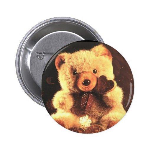 Golden Teddy Bear 2 Inch Round Button
