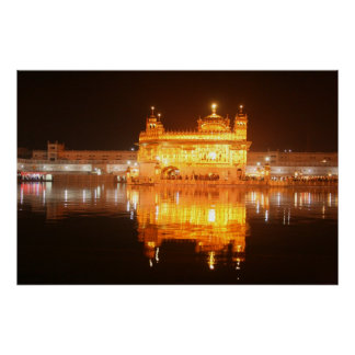Golden Temple Amritsar North India at Night Poster