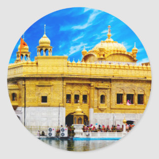 GOLDEN TEMPLE BLUE SKY BACKGROUND AMRITSAR CLASSIC ROUND STICKER