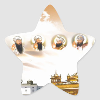 GOLDEN TEMPLE WITH THE SIKH GURUS STAR STICKER