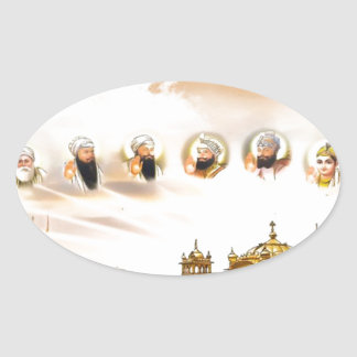 GOLDEN TEMPLE WITH THE SIKH GURUS OVAL STICKER