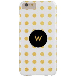 Golden Texture Polka Dots with Monogram iPhone 6 Plus Case