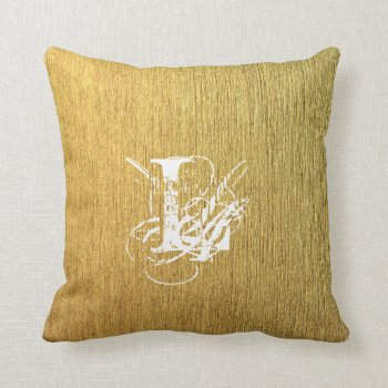 Golden Texture Typography Monogram Letter Throw Pillow by RainbowChild_Art at Zazzle