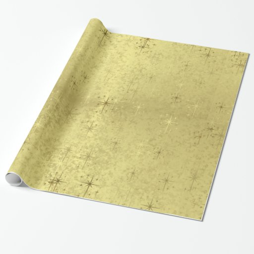 Golden Textured Holiday Christmas Stars Wrapping Paper